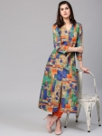 AKS Women Multicolored Printed Kurta