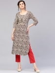AKS Women Taupe & Off-White Printed Kurta