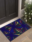 Set of 3 Multicoloured Printed Polyester Doormats