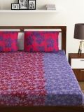 BOMBAY DYEING Multicoloured Floral Polycotton 1 King Bedsheet with 2 Pillow Covers