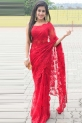 International Red Net Saree
