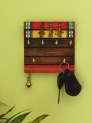 Brown Hand-Painted Wood Key Holder