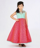 Green & Pink Flowered Embroidered Sleeveless Gown