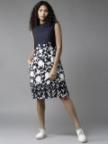 HERE&NOW Women Navy Blue Printed A-Line Dress
