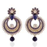 I Jewels Traditional Gold Plated Dangle & Drop Earrings For Women (Blue)