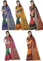 Set of 5 – Art Silk Bhagalpuri Sarees