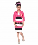 Girls Midi/Knee Length Casual Dress  (Pink, Sleeveless)