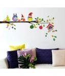StickersKart Merry Christmas Winter Owls Decor Wall Decor – Multicolour (70×25 cms)