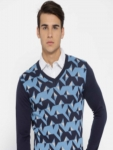 Van Heusen Men Blue Self Design Pullover
